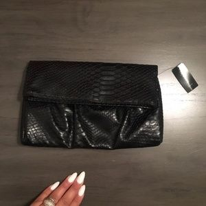 NWT Style & Co Black Snakeskin Fold Over Clutch
